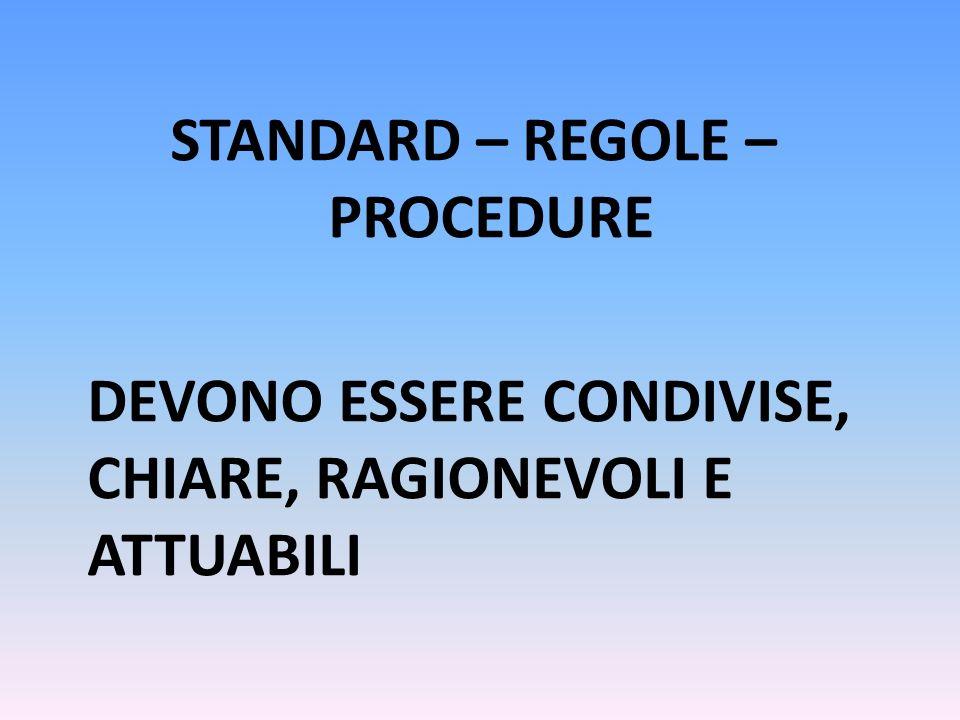 STANDARD – REGOLE – PROCEDURE DEVONO ESSERE CONDIVISE, CHIARE, RAGIONEVOLI E ATTUABILI