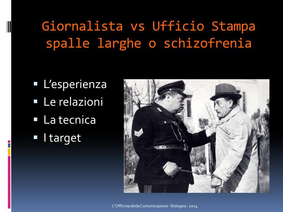 Giornalista vs Ufficio Stampa spalle larghe o schizofrenia  L'esperienza  Le relazioni  La tecnica  I target L Officina della Comunicazione - Bologna - 2014