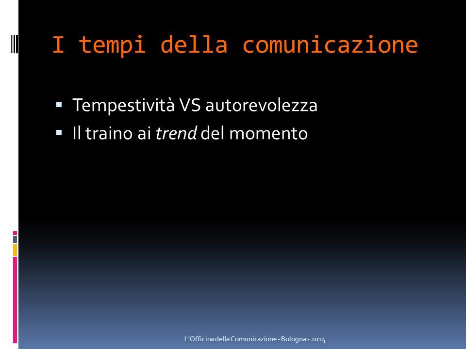 I tempi della comunicazione  Tempestività VS autorevolezza  Il traino ai trend del momento L Officina della Comunicazione - Bologna - 2014
