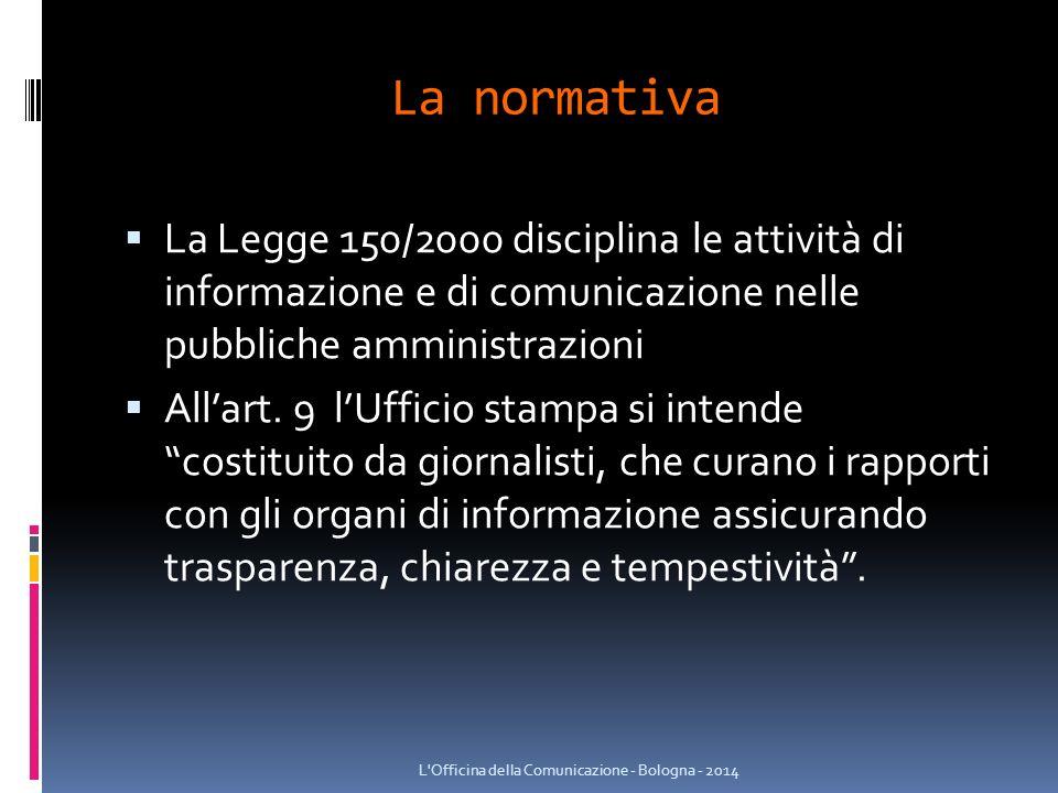 La normativa  La Legge 150/2000 disciplina le attività di informazione e di comunicazione nelle pubbliche amministrazioni  All'art.