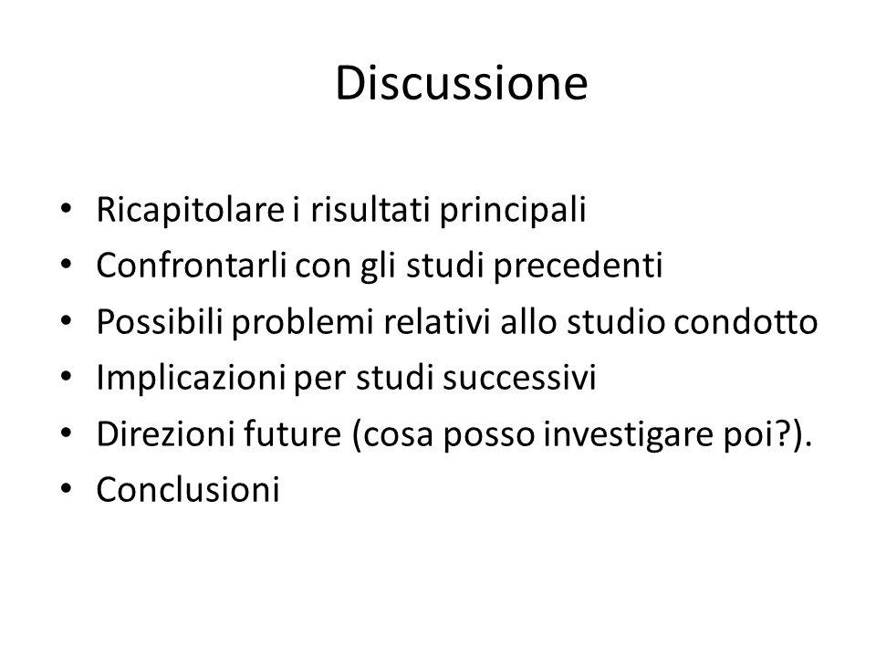 Discussione Ricapitolare i risultati principali Confrontarli con gli studi precedenti Possibili problemi relativi allo studio condotto Implicazioni pe