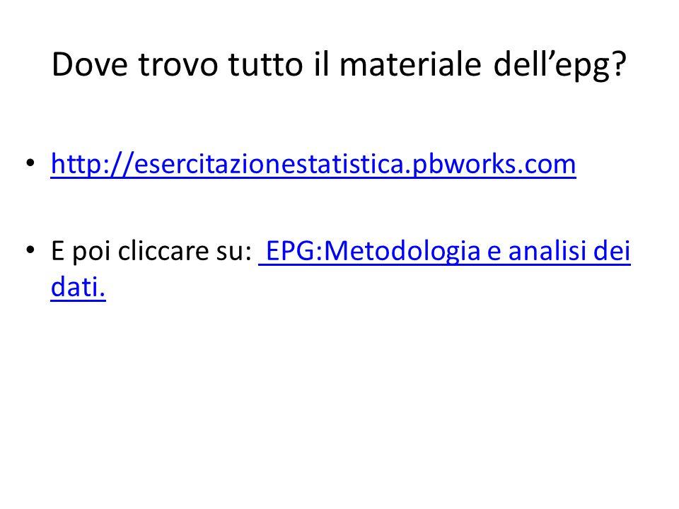 Dove trovo tutto il materiale dell'epg? http://esercitazionestatistica.pbworks.com E poi cliccare su: EPG:Metodologia e analisi dei dati. EPG:Metodolo