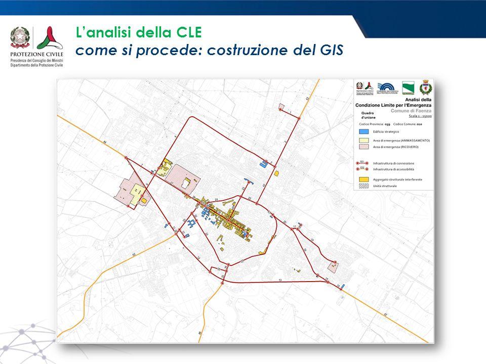 L'analisi della CLE come si procede: costruzione del GIS
