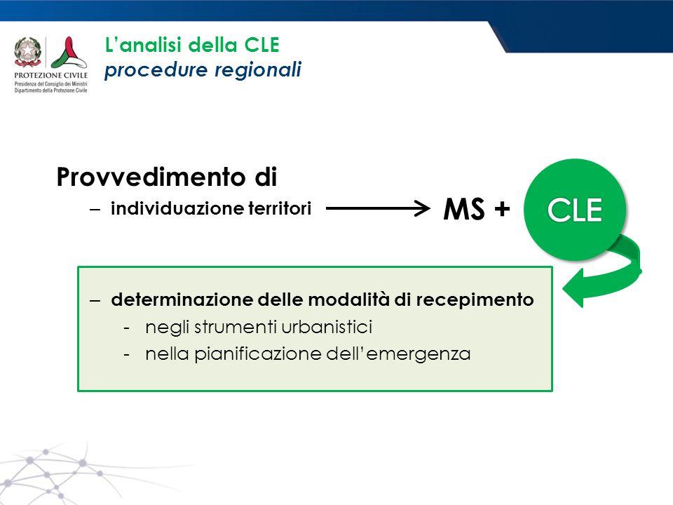 L'analisi della CLE procedure regionali Provvedimento di – individuazione territori – determinazione delle modalità di recepimento - negli strumenti urbanistici - nella pianificazione dell'emergenza MS +