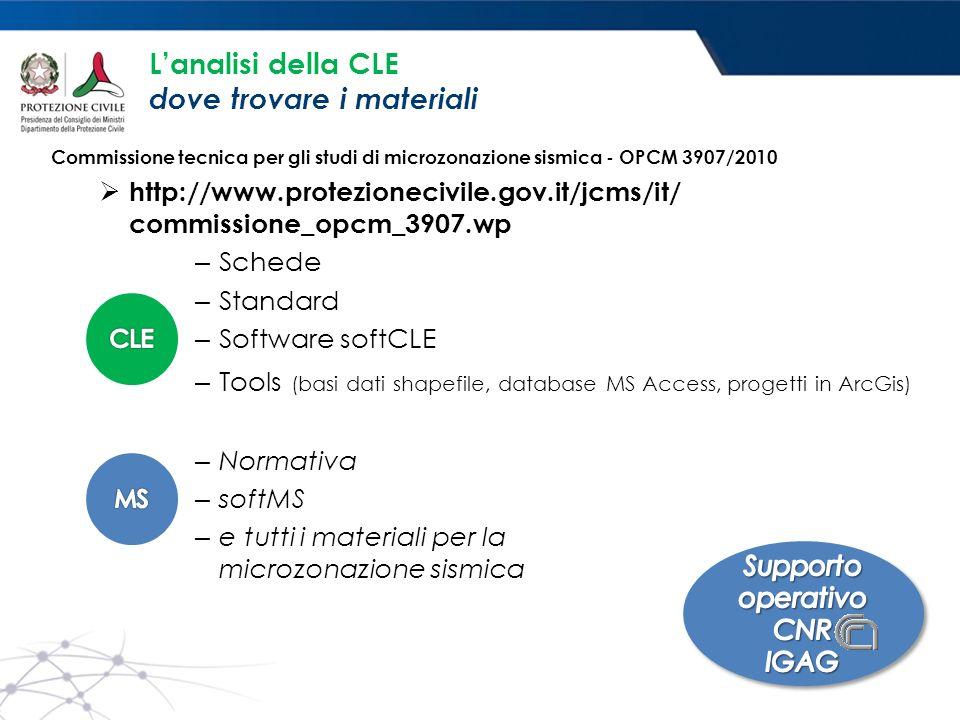 L'analisi della CLE dove trovare i materiali Commissione tecnica per gli studi di microzonazione sismica - OPCM 3907/2010  http://www.protezionecivil