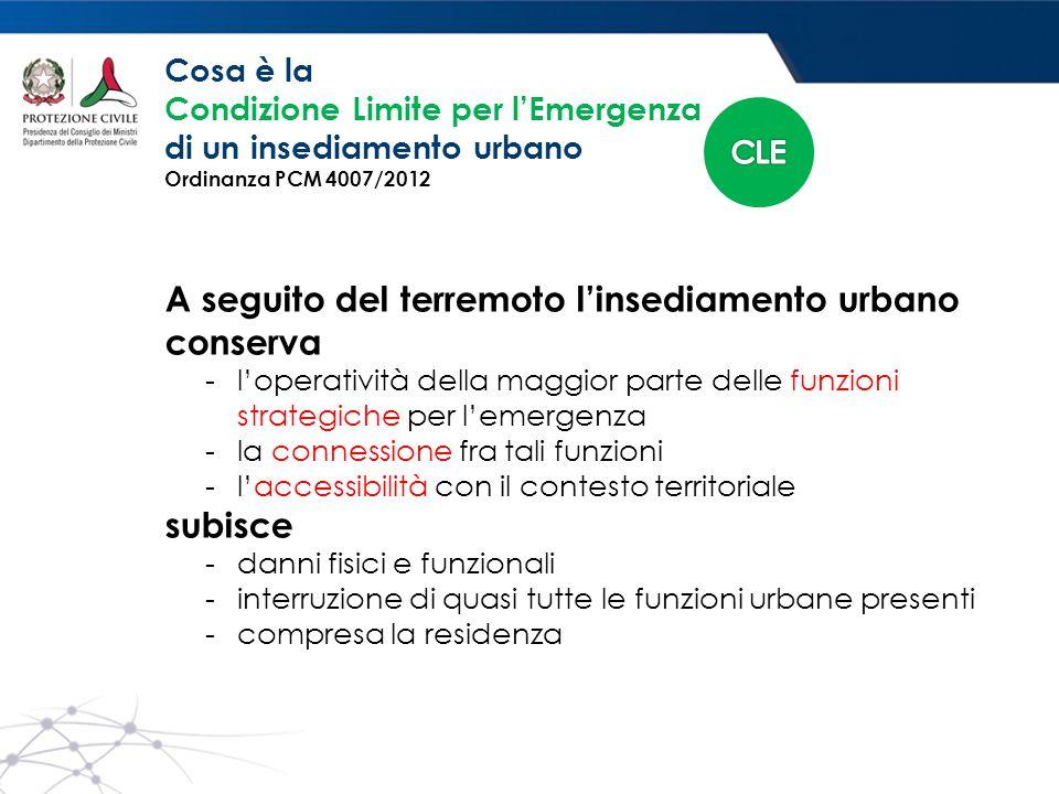 A seguito del terremoto l'insediamento urbano conserva - l'operatività della maggior parte delle funzioni strategiche per l'emergenza - la connessione