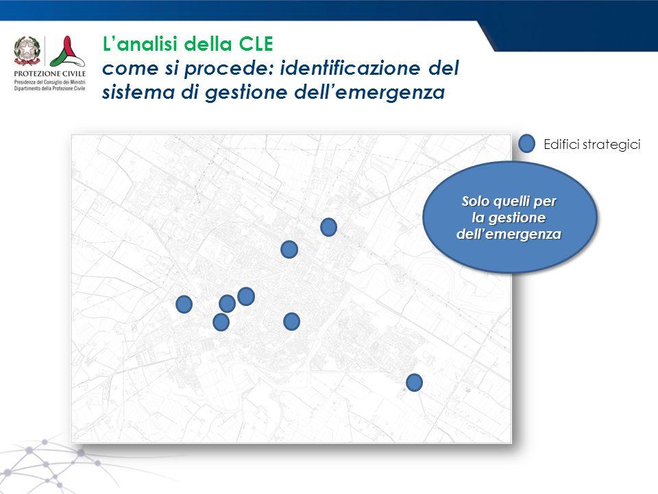 Edifici strategici Solo quelli per la gestione dell'emergenza L'analisi della CLE come si procede: identificazione del sistema di gestione dell'emerge