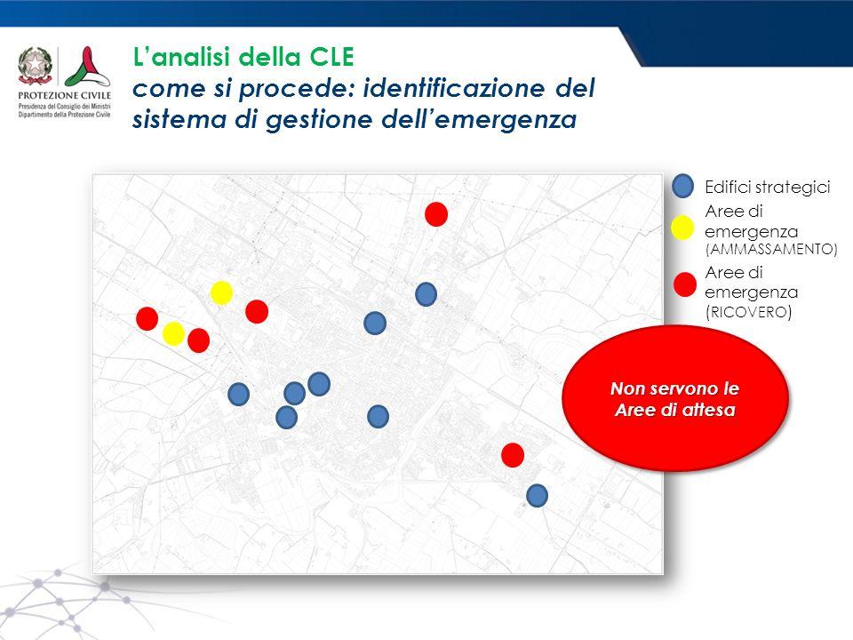 L'analisi della CLE come si procede: identificazione del sistema di gestione dell'emergenza Edifici strategici Aree di emergenza (AMMASSAMENTO) Aree di emergenza ( RICOVERO ) Non servono le Aree di attesa