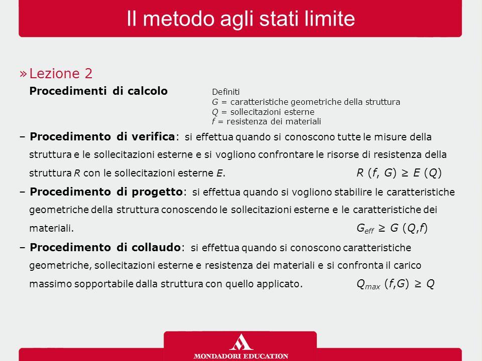 Il metodo agli stati limite »Lezione 2 Procedimenti di calcolo Definiti G = caratteristiche geometriche della struttura Q = sollecitazioni esterne f =