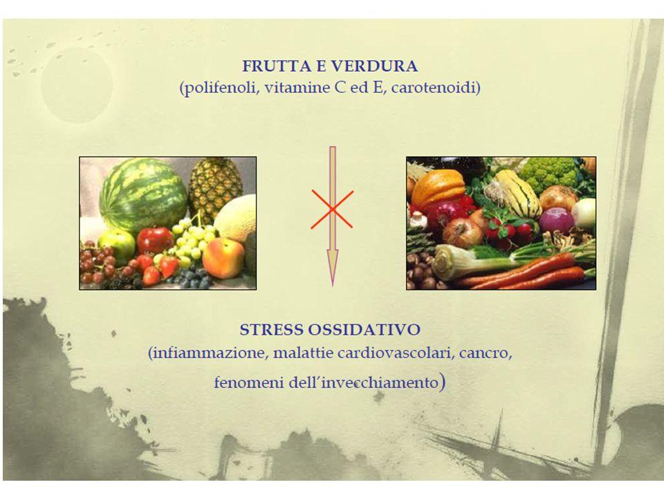 Ruolo protettivo della frutta e della verdura Una dieta ricca di frutta e verdura può esercitare un ruolo protettivo nei confronti di malattie cronico-degenerative quali patologie cardiovascolari e tumori.