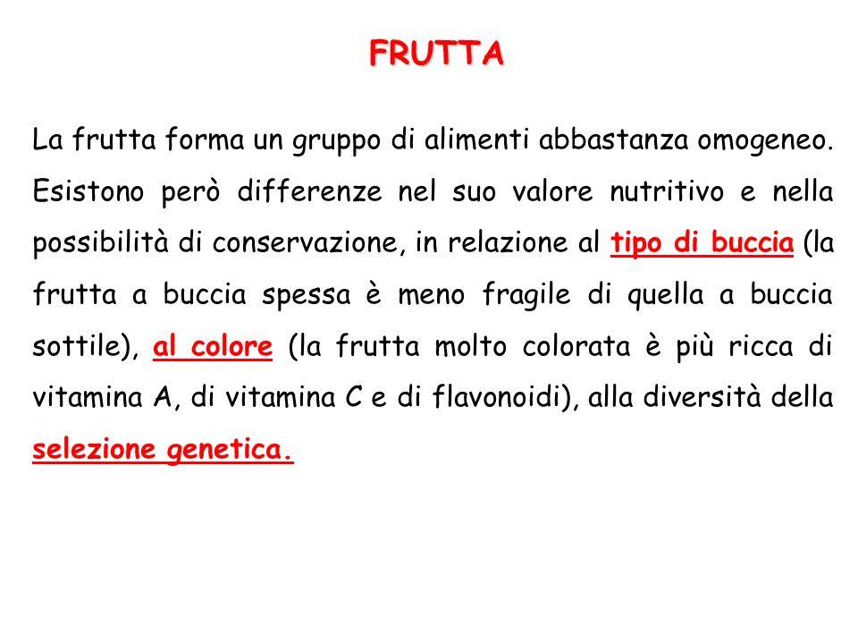 La frutta forma un gruppo di alimenti abbastanza omogeneo. Esistono però differenze nel suo valore nutritivo e nella possibilità di conservazione, in