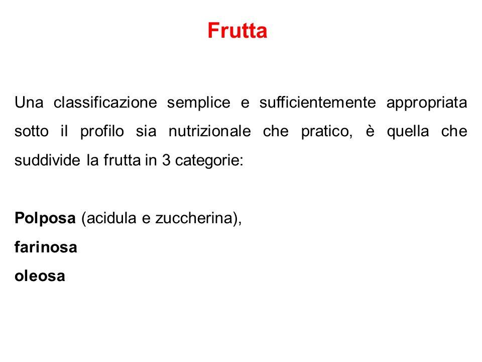 Frutta Una classificazione semplice e sufficientemente appropriata sotto il profilo sia nutrizionale che pratico, è quella che suddivide la frutta in