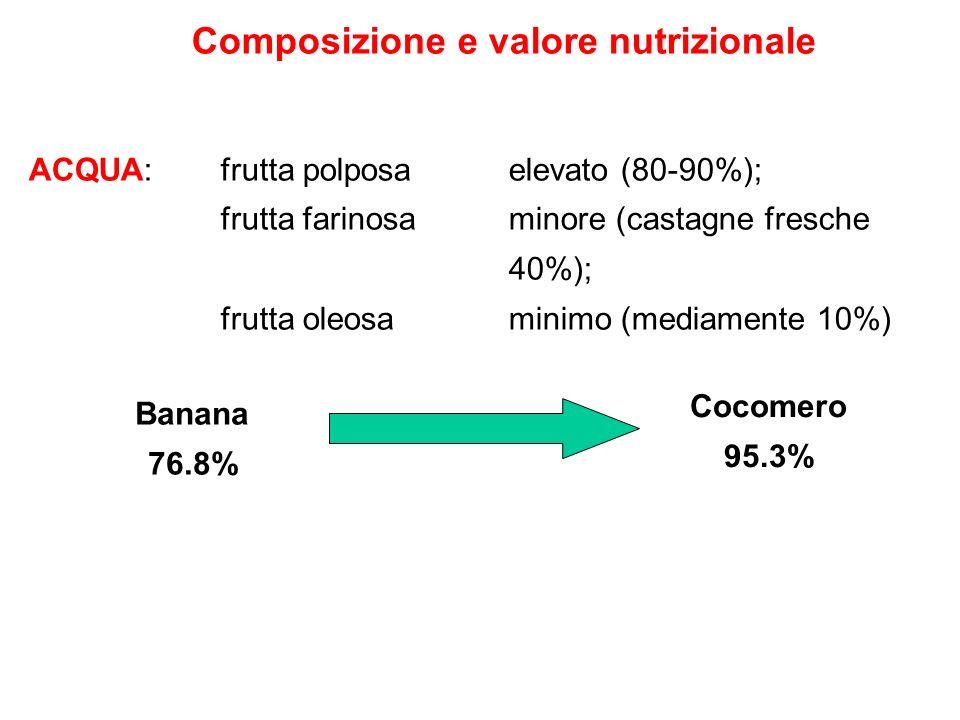 Composizione e valore nutrizionale ACQUA: frutta polposa elevato (80-90%); frutta farinosa minore (castagne fresche 40%); frutta oleosa minimo (mediam