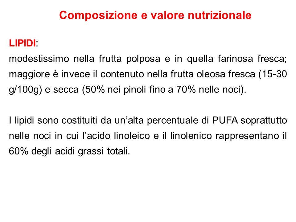 Composizione e valore nutrizionale LIPIDI: modestissimo nella frutta polposa e in quella farinosa fresca; maggiore è invece il contenuto nella frutta