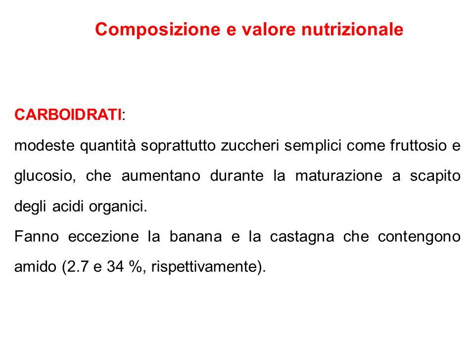 Composizione e valore nutrizionale CARBOIDRATI: modeste quantità soprattutto zuccheri semplici come fruttosio e glucosio, che aumentano durante la mat