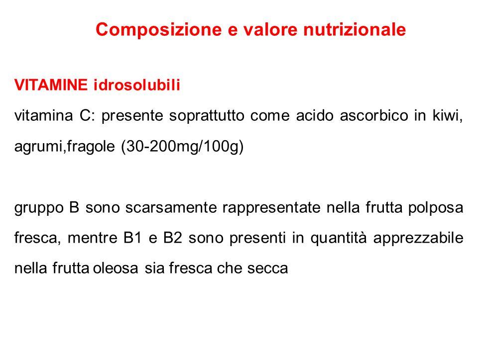 Composizione e valore nutrizionale VITAMINE idrosolubili vitamina C: presente soprattutto come acido ascorbico in kiwi, agrumi,fragole (30-200mg/100g)