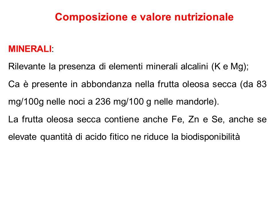 Composizione e valore nutrizionale MINERALI: Rilevante la presenza di elementi minerali alcalini (K e Mg); Ca è presente in abbondanza nella frutta ol