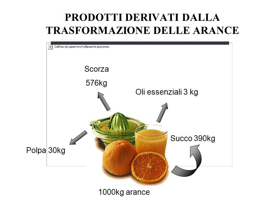 PRODOTTI DERIVATI DALLA TRASFORMAZIONE DELLE ARANCE Succo 390kg Oli essenziali 3 kg Polpa 30kg Scorza 576kg 1000kg arance