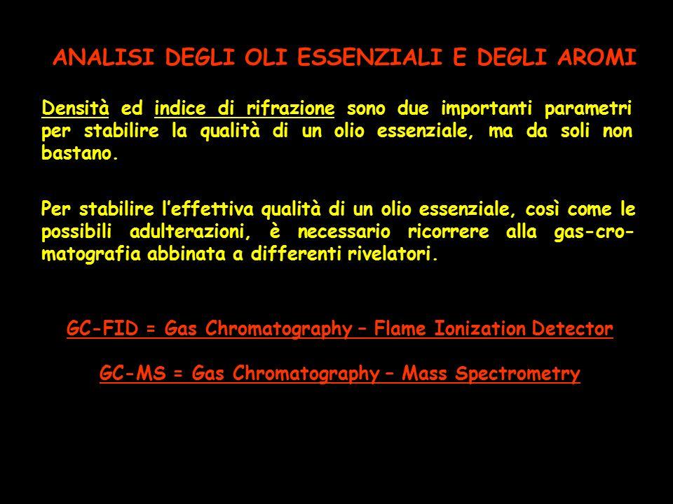 ANALISI DEGLI OLI ESSENZIALI E DEGLI AROMI Densità ed indice di rifrazione sono due importanti parametri per stabilire la qualità di un olio essenzial
