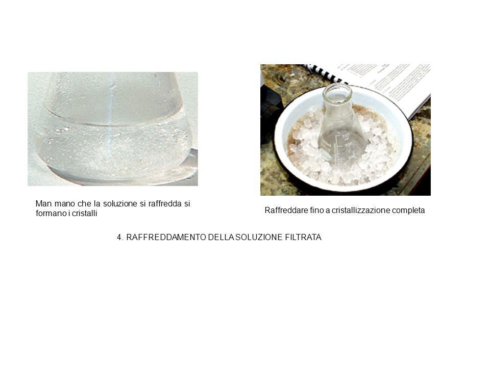 Man mano che la soluzione si raffredda si formano i cristalli Raffreddare fino a cristallizzazione completa 4. RAFFREDDAMENTO DELLA SOLUZIONE FILTRATA