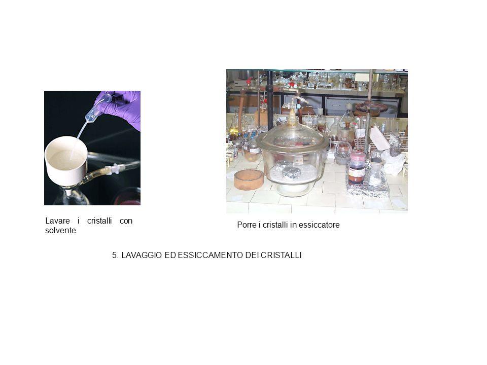 5. LAVAGGIO ED ESSICCAMENTO DEI CRISTALLI Lavare i cristalli con solvente Porre i cristalli in essiccatore