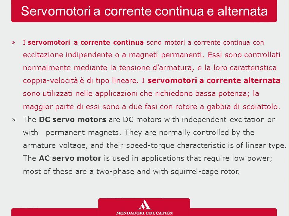 »I servomotori a corrente continua sono motori a corrente continua con eccitazione indipendente o a magneti permanenti.