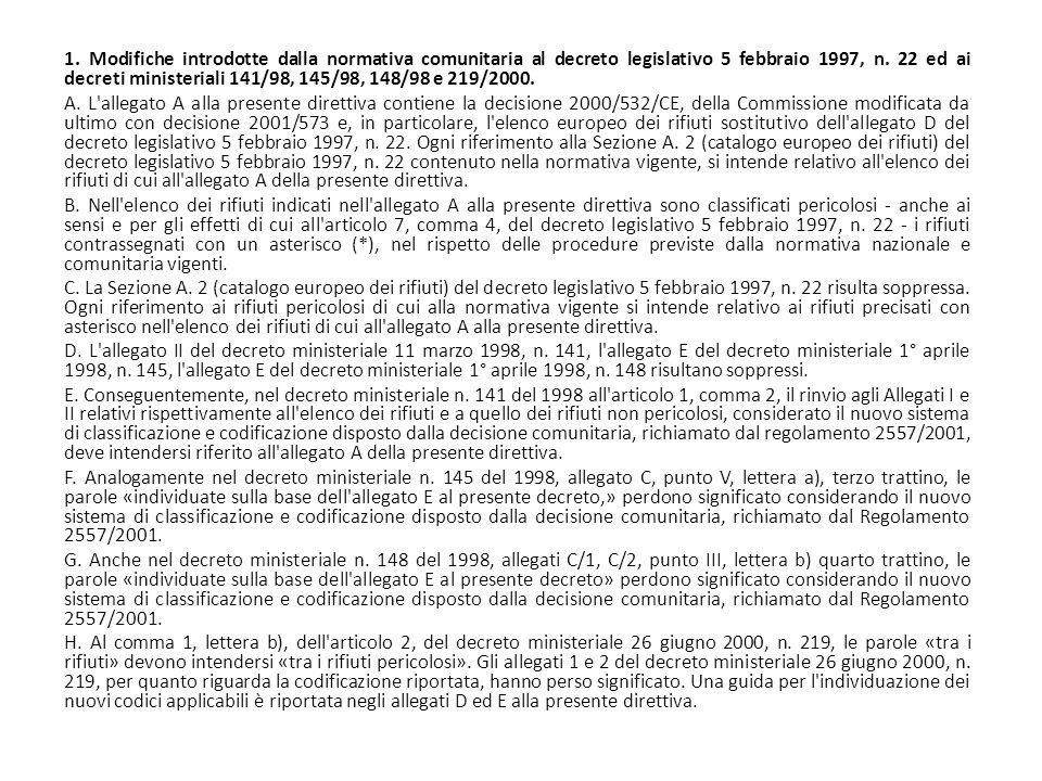 1. Modifiche introdotte dalla normativa comunitaria al decreto legislativo 5 febbraio 1997, n. 22 ed ai decreti ministeriali 141/98, 145/98, 148/98 e