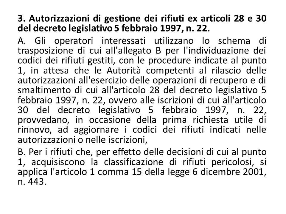 3. Autorizzazioni di gestione dei rifiuti ex articoli 28 e 30 del decreto legislativo 5 febbraio 1997, n. 22. A. Gli operatori interessati utilizzano