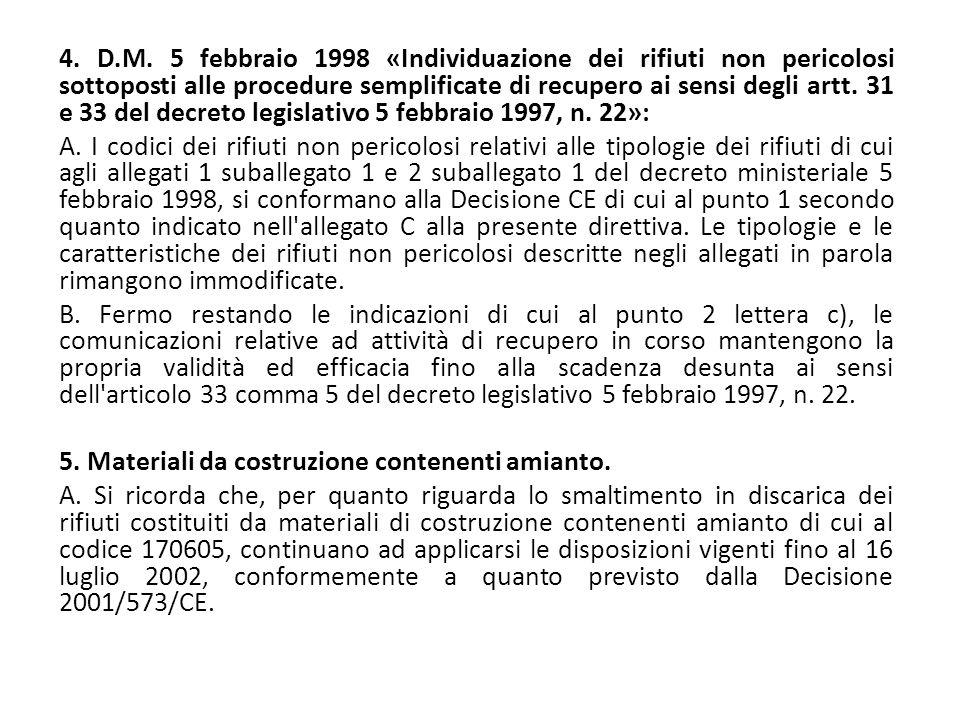 4. D.M. 5 febbraio 1998 «Individuazione dei rifiuti non pericolosi sottoposti alle procedure semplificate di recupero ai sensi degli artt. 31 e 33 del