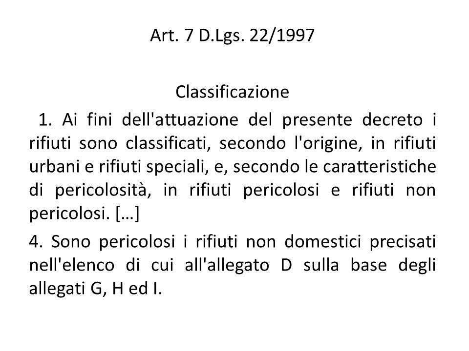 Art. 7 D.Lgs. 22/1997 Classificazione 1. Ai fini dell'attuazione del presente decreto i rifiuti sono classificati, secondo l'origine, in rifiuti urban