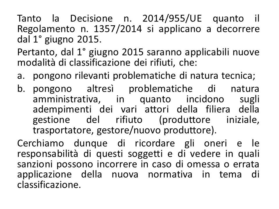 Tanto la Decisione n. 2014/955/UE quanto il Regolamento n. 1357/2014 si applicano a decorrere dal 1° giugno 2015. Pertanto, dal 1° giugno 2015 saranno
