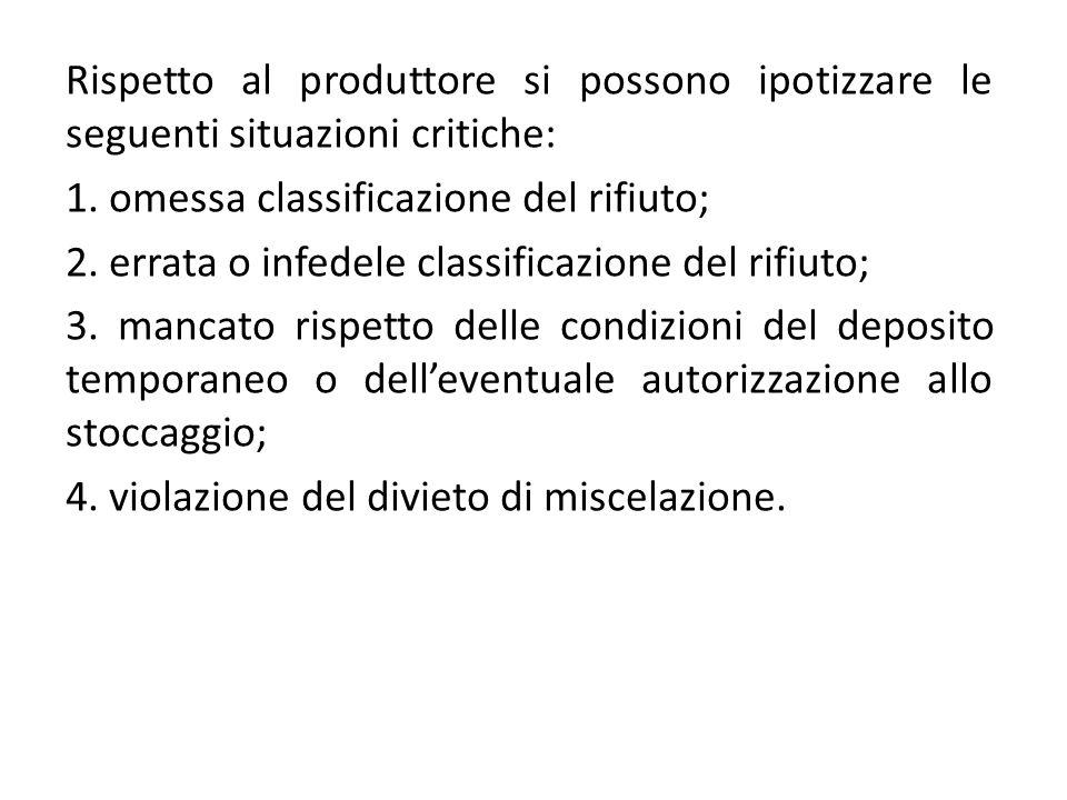 Rispetto al produttore si possono ipotizzare le seguenti situazioni critiche: 1. omessa classificazione del rifiuto; 2. errata o infedele classificazi