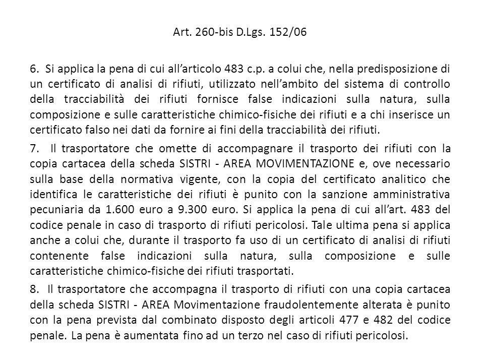 Art. 260-bis D.Lgs. 152/06 6. Si applica la pena di cui all'articolo 483 c.p. a colui che, nella predisposizione di un certificato di analisi di rifiu