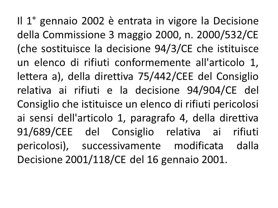 Elenco dei rifiuti istituito conformemente all articolo 1, lettera a), della direttiva 75/442/CEE relativa ai rifiuti e all articolo 1, paragrafo 4, della direttiva 91/689/CEE relativa ai rifiuti pericolosi Introduzione 1.