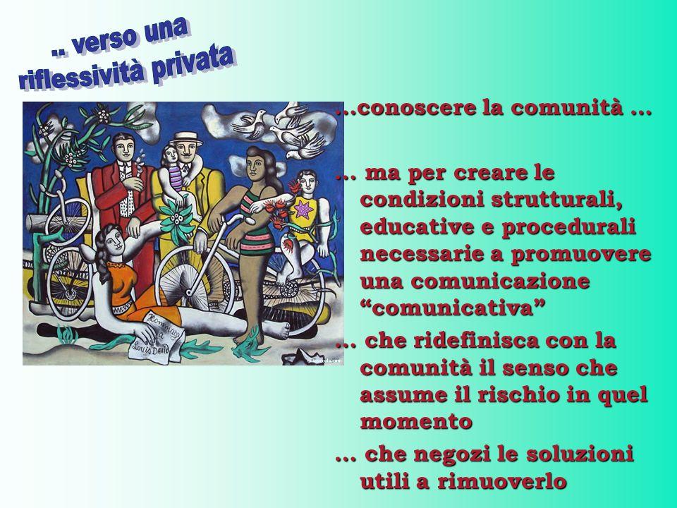 """…conoscere la comunità … … ma per creare le condizioni strutturali, educative e procedurali necessarie a promuovere una comunicazione """"comunicativa"""" …"""