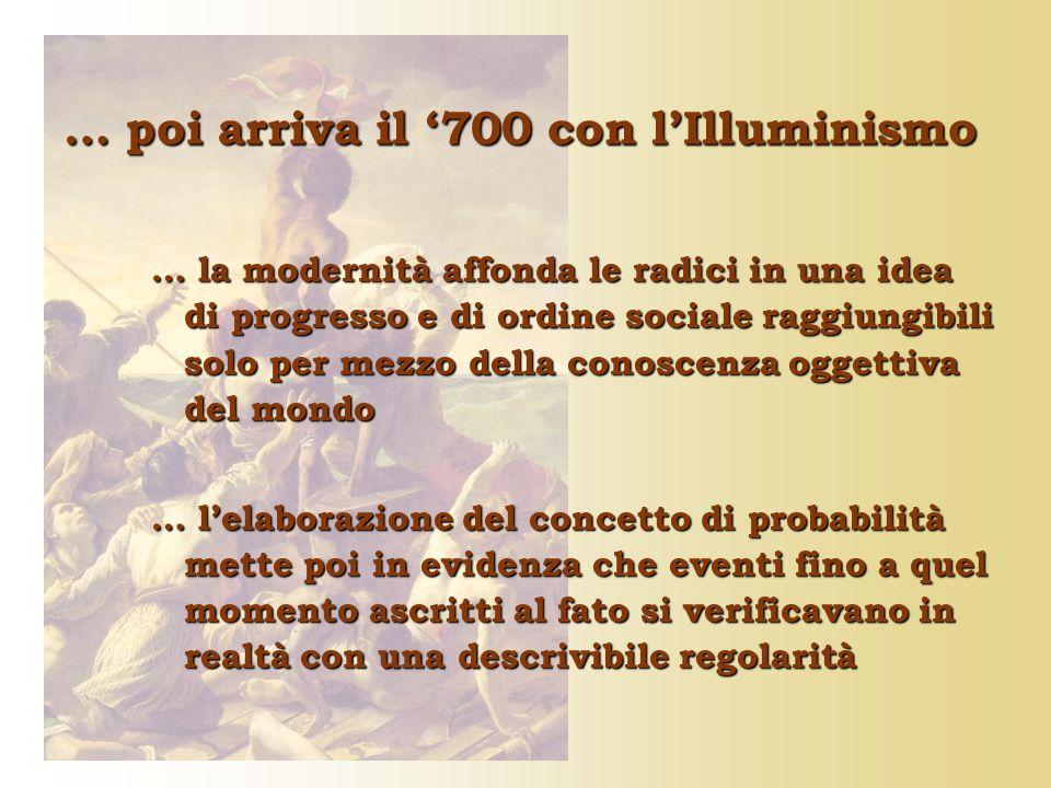… poi arriva il '700 con l'Illuminismo … la modernità affonda le radici in una idea di progresso e di ordine sociale raggiungibili solo per mezzo dell