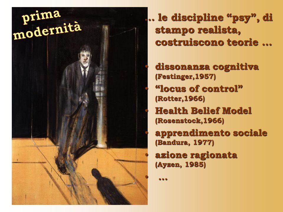 … le discipline psy , di stampo realista, costruiscono teorie … dissonanza cognitiva (Festinger,1957) dissonanza cognitiva (Festinger,1957) locus of control (Rotter,1966) locus of control (Rotter,1966) Health Belief Model (Rosenstock,1966) Health Belief Model (Rosenstock,1966) apprendimento sociale (Bandura, 1977) apprendimento sociale (Bandura, 1977) azione ragionata (Ayzen, 1985) azione ragionata (Ayzen, 1985) … …