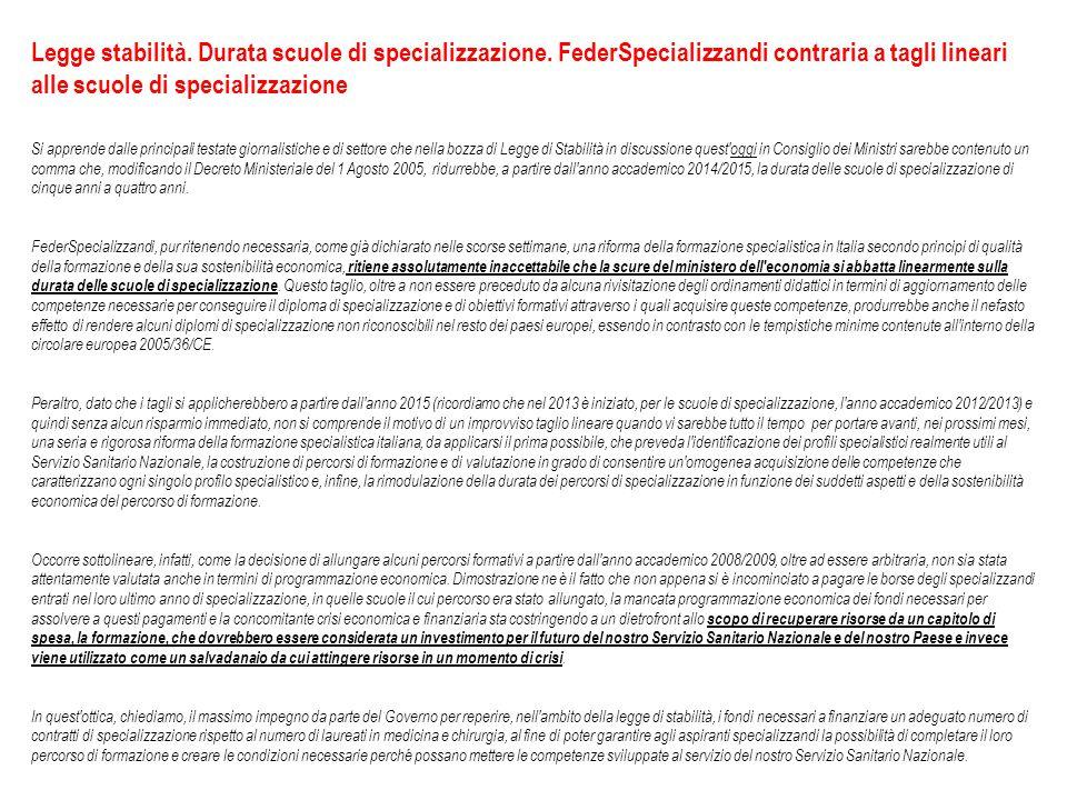 Legge stabilità. Durata scuole di specializzazione.