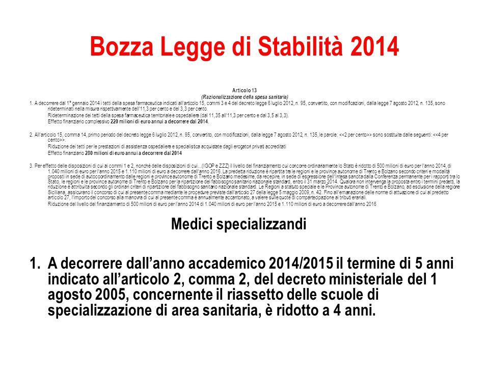 Bozza Legge di Stabilità 2014 Articolo 13 (Razionalizzazione della spesa sanitaria) 1.