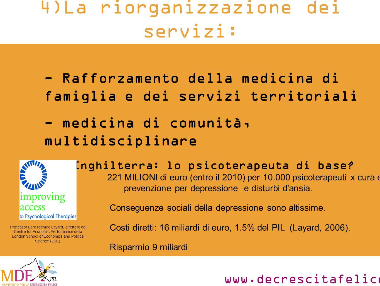 www.decrescitafelice.it - Rafforzamento della medicina di famiglia e dei servizi territoriali - medicina di comunità, multidisciplinare Es.