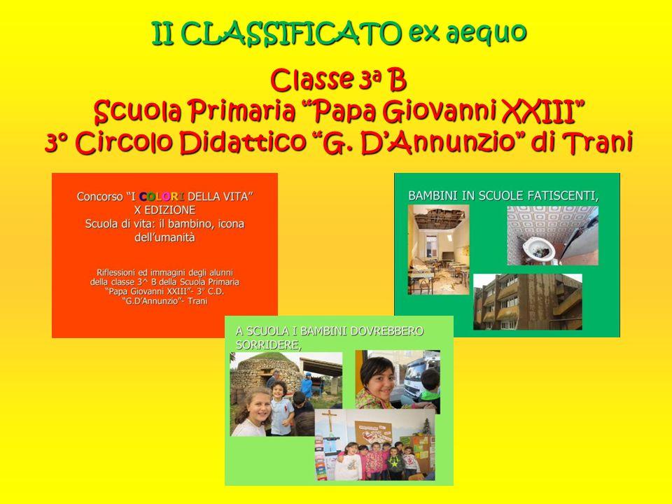 """II CLASSIFICATO ex aequo Classe 3 a B Scuola Primaria """"Papa Giovanni XXIII"""" 3° Circolo Didattico """"G. D'Annunzio"""" di Trani"""