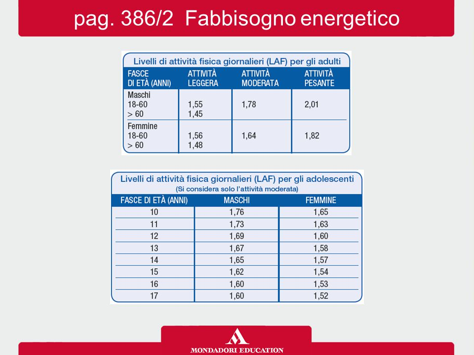 pag. 386/2 Fabbisogno energetico