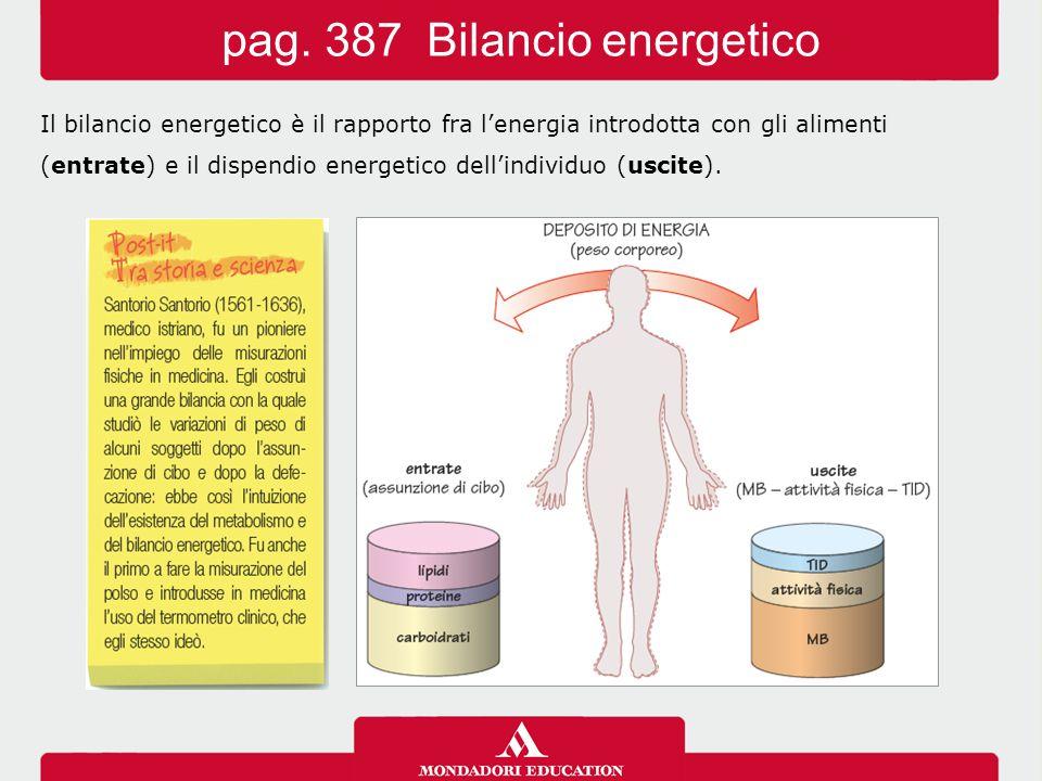 Il bilancio energetico è il rapporto fra l'energia introdotta con gli alimenti (entrate) e il dispendio energetico dell'individuo (uscite).