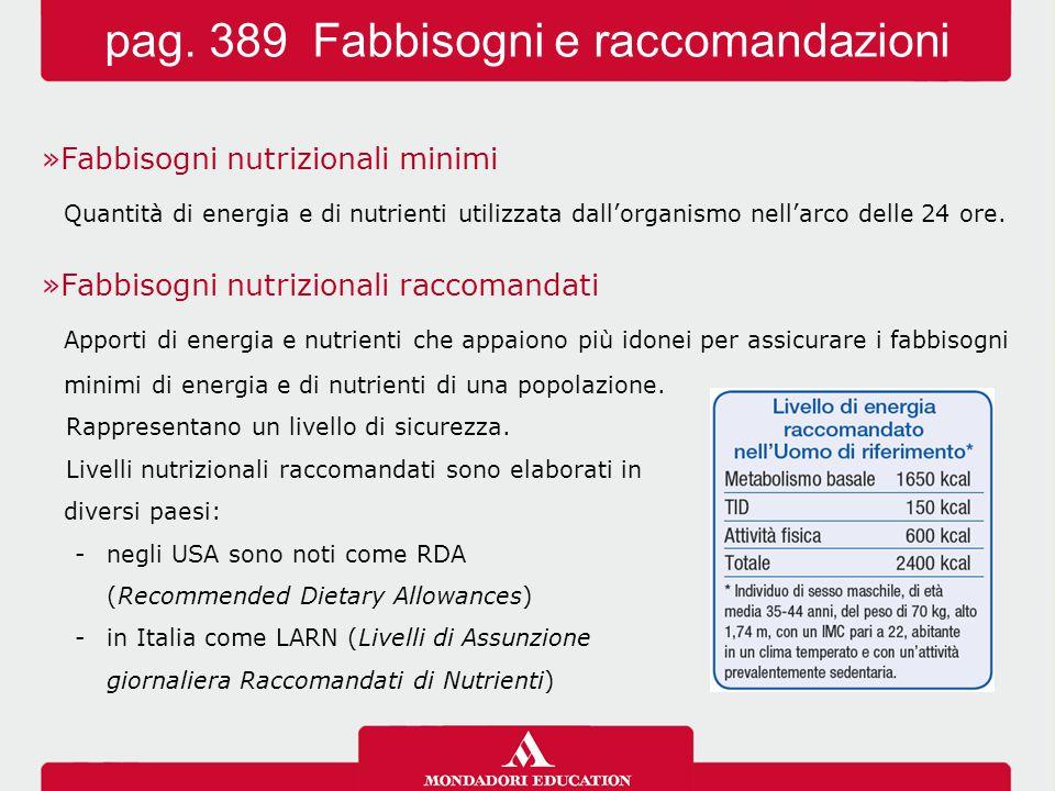 »Fabbisogni nutrizionali minimi Quantità di energia e di nutrienti utilizzata dall'organismo nell'arco delle 24 ore.