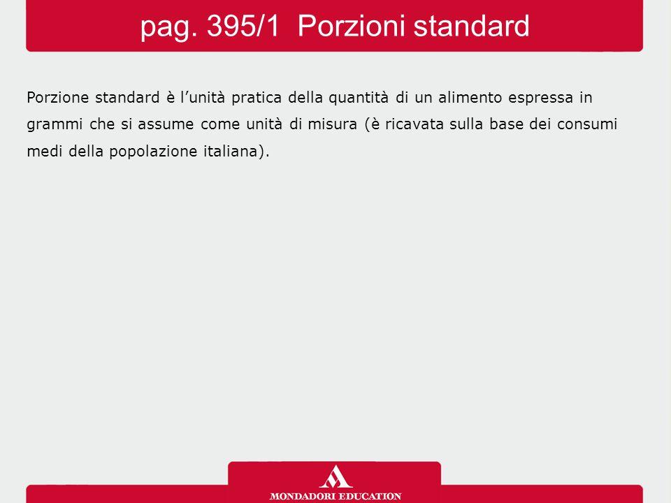 Porzione standard è l'unità pratica della quantità di un alimento espressa in grammi che si assume come unità di misura (è ricavata sulla base dei consumi medi della popolazione italiana).