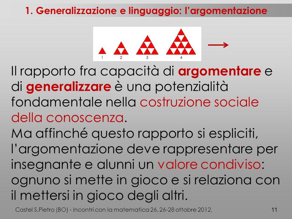 Il rapporto fra capacità di argomentare e di generalizzare è una potenzialità fondamentale nella costruzione sociale della conoscenza.