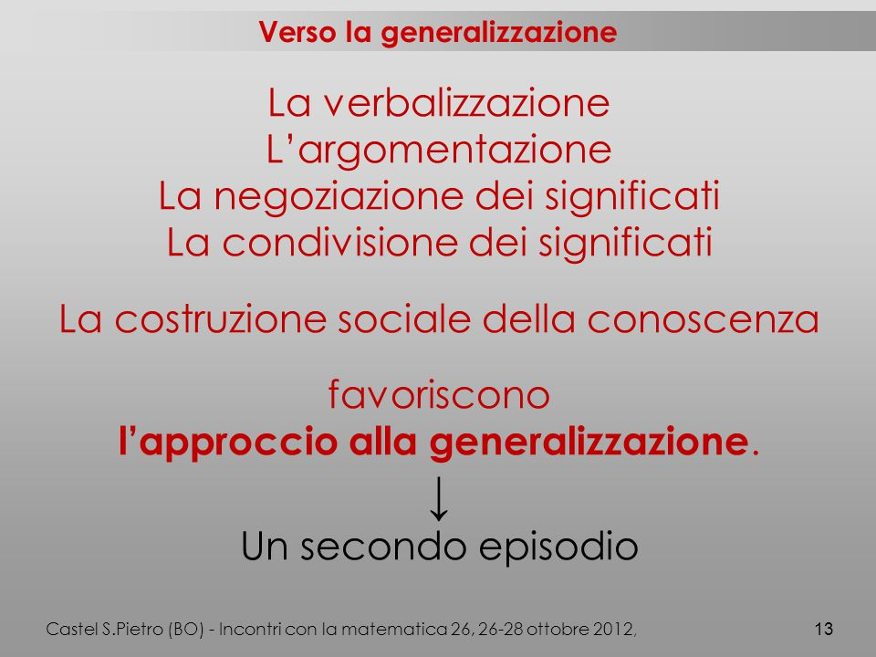 Verso la generalizzazione La verbalizzazione L'argomentazione La negoziazione dei significati La condivisione dei significati La costruzione sociale della conoscenza favoriscono l'approccio alla generalizzazione.