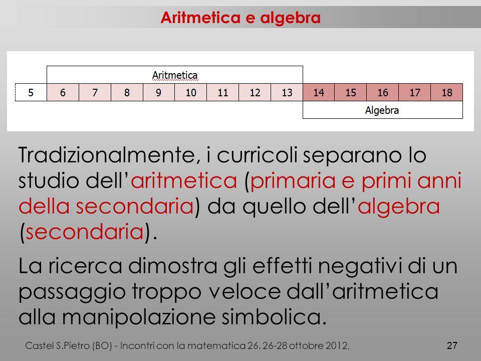 Aritmetica e algebra Tradizionalmente, i curricoli separano lo studio dell'aritmetica (primaria e primi anni della secondaria) da quello dell'algebra (secondaria).