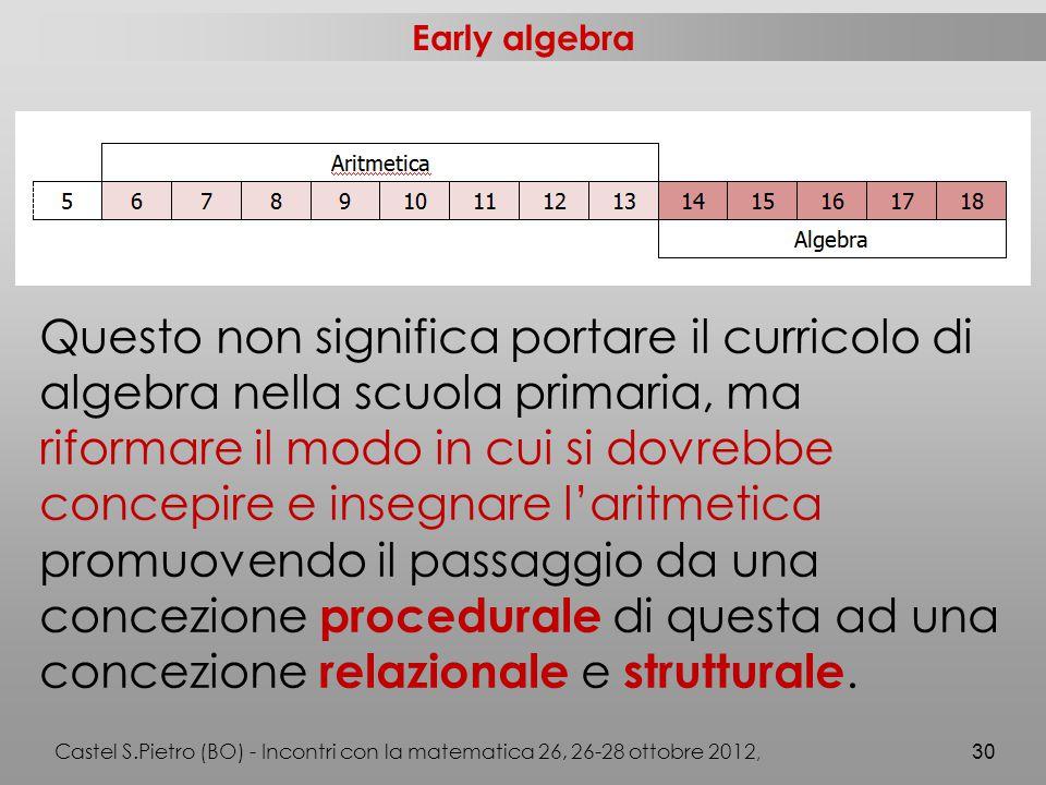 Early algebra Questo non significa portare il curricolo di algebra nella scuola primaria, ma riformare il modo in cui si dovrebbe concepire e insegnare l'aritmetica promuovendo il passaggio da una concezione procedurale di questa ad una concezione relazionale e strutturale.