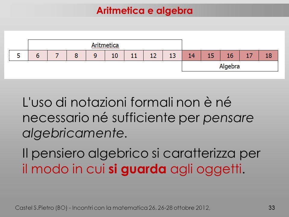 Aritmetica e algebra Castel S.Pietro (BO) - Incontri con la matematica 26, 26-28 ottobre 2012, 33 L uso di notazioni formali non è né necessario né sufficiente per pensare algebricamente.